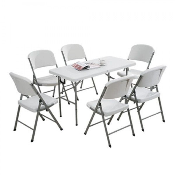 5 White Rectangular Tables 6 Ft + 50 Chairs