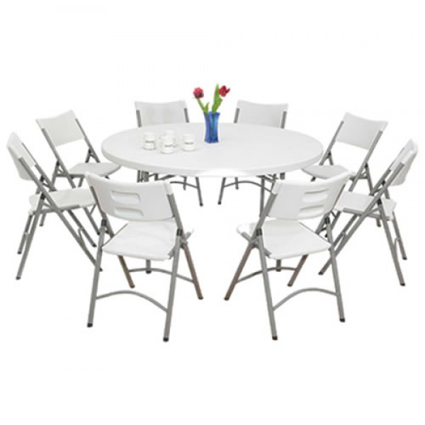 4 White Round Tables 40 Chairs